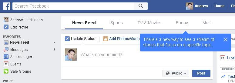 feed de facebook por tema