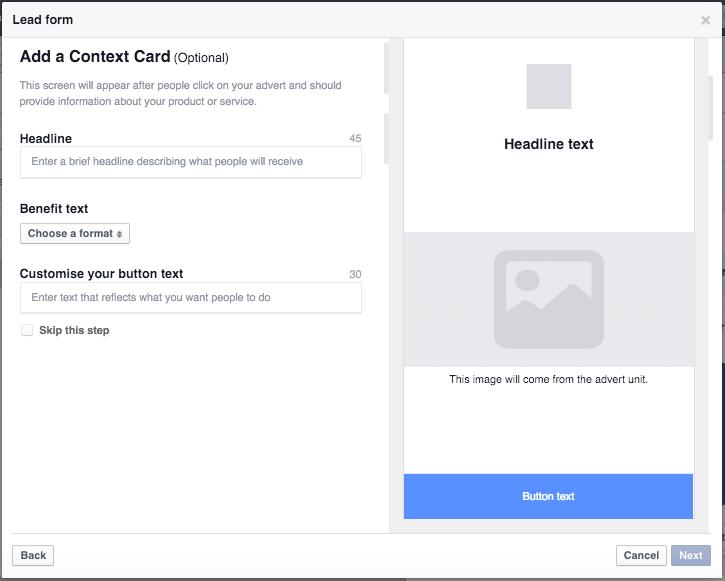 personaliza formulario en facebook