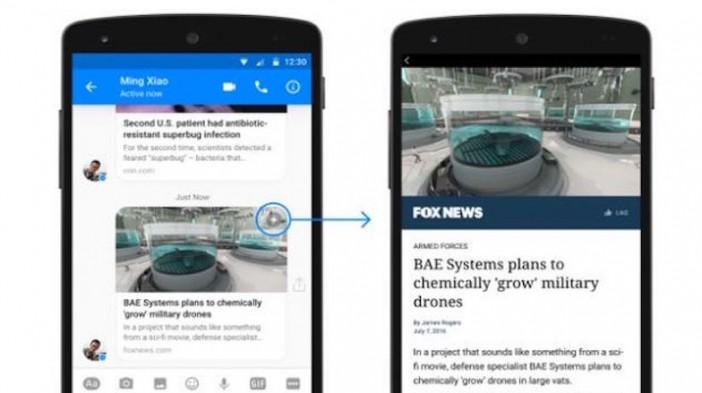 Facebook incluye los Artículos Instantáneos en Messenger