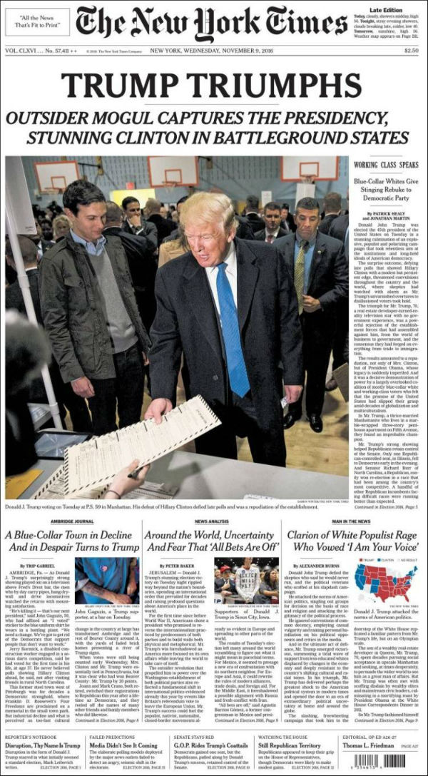 El New York Times es el periódico más popular de la ciudad que lleva su nombre. Recordemos que Hillary obtuvo el triple de votos que Trump en dicho estado.